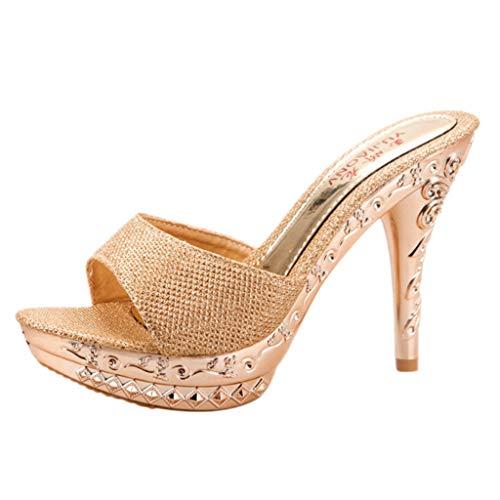 Donna sandali diamante alla caviglia festa sera tacchi alti scarpe pantofole estive elegant tacco medio sandali scarpe infradito morbida punta aperta e plateau scarpe piattaforma