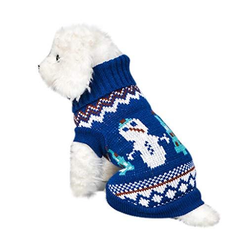 Fenverk_Haustier Hund Katze Winter Warm Rollkragen Sweatshirt Mantel KostüM Bekleidung Jacke Kleider Hoodies Jumper Zum HüNdchen Klein Mittel Groß Hunde Overall Kleidung (S, E-Blau)