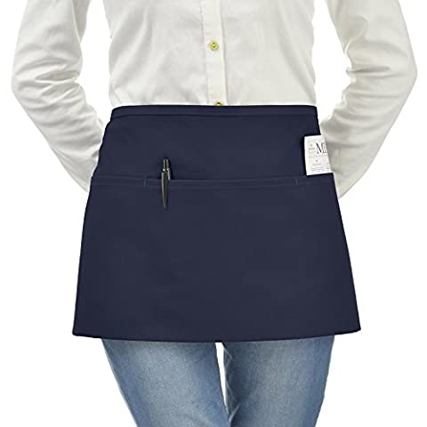 VEEYOO Waist Chef Apron with Pockets, Durable Spun Poly Cotton,
