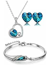 Valentine Gift By Shining Diva Crystal Combo Jewellery Of Necklace Set / Pendant Set With Earring And Bracelet...