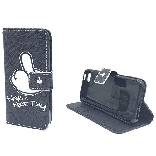 Handy Tasche Book Style Rahmen Flip Cover Case Schutz Hülle Etui Motiv Wallet, Für Handy:Apple iPhone 6 / 6s (4.7 Zoll), Motiv:MITTELFINGER MITTELFINGER
