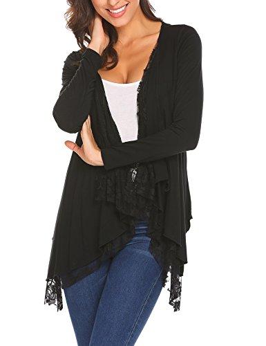 Beyove Damen Strickjacke Cardigan Bolero Strickmantel Kimono Pullover Blazer Jacke (D)Schwarz