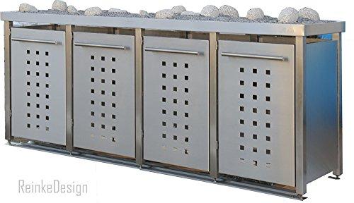 Mülltonnenbox aus Edelstahl mit Pflanzenwanne 4x240l