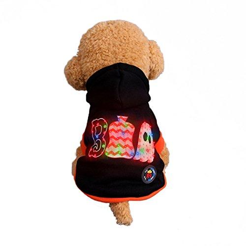 Hunde Junge Und Kostüm - Abcsea Haustier Kostüm, Haustier Kleidung, Hund Kleidung, Haustier Glühen Kleidung, Leuchten Im Dunkeln, Hund Halloween Halloween Glühen Kostüm, Junge Stil - Schwarz - S