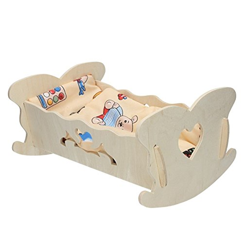 Puppenwiege mit Bettwäsche 36x25x17,5cm Puppe Wiege Puppenzubehör Decke Kissen