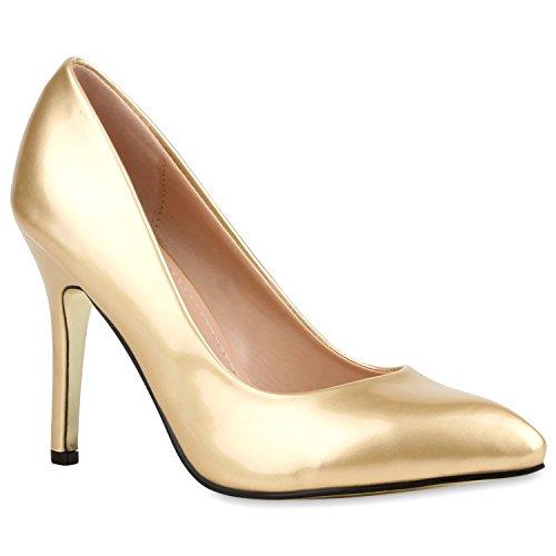 Stiefelparadies Spitze Damen Pumps Lack Stilettos Elegante High Heels Schuhe 116054 Gold 36 Flandell