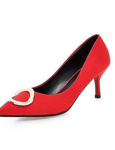 GS~LY Da donna-Tacchi-Ufficio e lavoro / Casual-Tacchi / A punta-A cono-Felpato-Nero / Rosso black-us7.5 / eu38 / uk5.5 / cn38