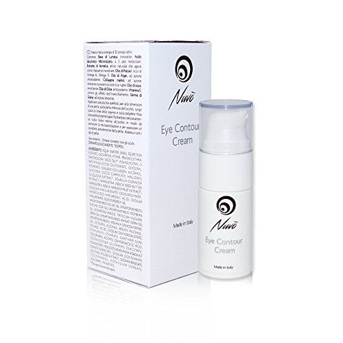 Nuvo' Augencreme mit Schneckenschleim Angereichert mit Hyaluronsäure Vitamin E Arganöl Anti-Aging, um Linien und Krähenfüße zu mindern Anti-Falten Augenkontur 100% Made in Italy 15ml