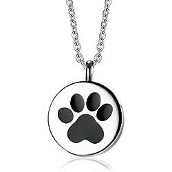 Vnox Pata de Acero Inoxidable Memorial Cremation Urn Collar Colgante de Recuerdo para Perro Gato Mascotas Ceniza