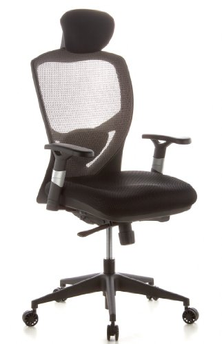 hjh OFFICE 657130 Bürostuhl Chefsessel VENUS BASE Netzstoff silbergrau, ergonomische flexible Lendenwirbelstütze, hoher Sitzkomfort, Drehstuhl ergonomisch, verstellbare Armlehnen, Schreibtischstuhl