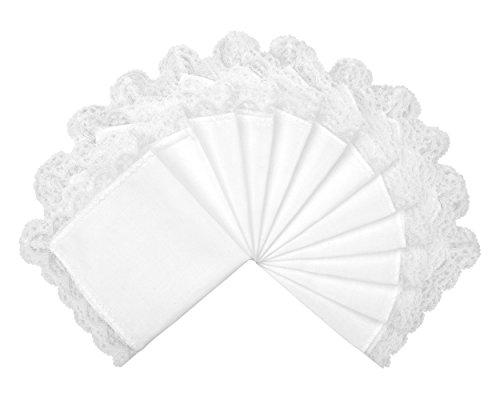 Milesky Damen Taschentücher Hochzeit Weiß mit Spitze 12 Stück, ca. 26 x 26cm (Taschentücher Damen Bestickte)
