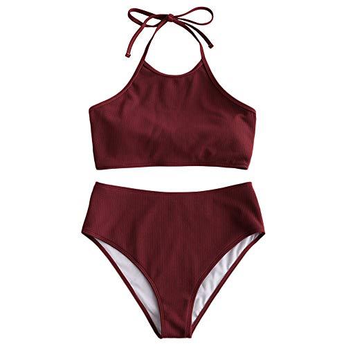 ZAFUL Damen High Waisted Halfter Gepolstert Tankini Set Badeanzug Rot XL