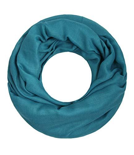Majea Loop Cary Basic Schal Tuch Damen-schal Schlauchschal Rundschal Halstücher uni unifarben Loopschal einfarbig (petrol)