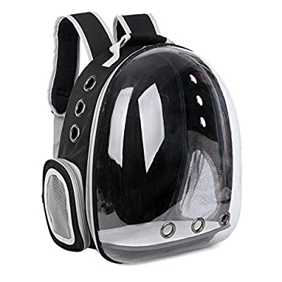 HS-ATI NICE Pet Backpack Transparent Breathable Travel Hiking Camping Black Hands Free Outdoor Pet Bag Suitable for Pet Dog Cat Puppy Kitten Rabbit from HS-ATI NICE