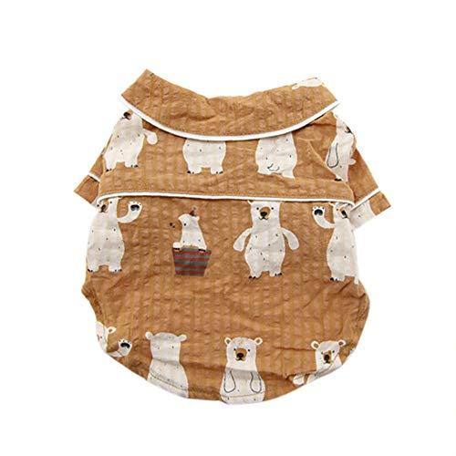 JKRTR Mode-Haustier-Frühling und Sommer-Hemd, das Zwei-beinige Hundedünne Neue Dünnschliff Kleidung(Braun,XL)