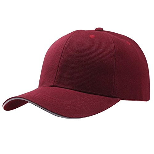 Baseball Kappe Unisex, Sunday Frauen Baseball Cap Snapback Hut Hip-Hop Einstellbar Outdoor Sports Pure Farbe Hüte (Weinrot)