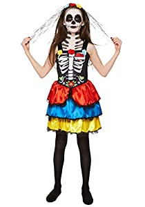 Karnival Costumes- Halloween Day of The Dead Girl Disfraz, Multicolor, large (84552)