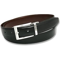 Ashford Ridge 30mm reversible del cinturón de cuero recubierto en Negro/marrón (90cm - 100cm)