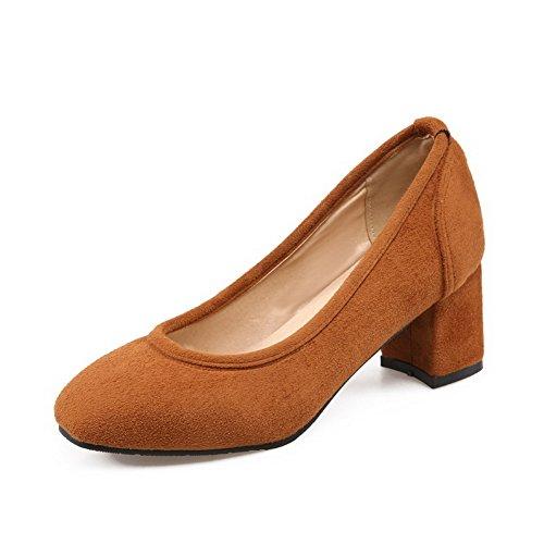 VogueZone009 Femme Suédé Couleur Unie Tire Carré à Talon Correct Chaussures Légeres Jaune