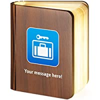 Personalised Wooden Folding Magnetic LED Book Lamp Featuring Left-Luggage Emoji