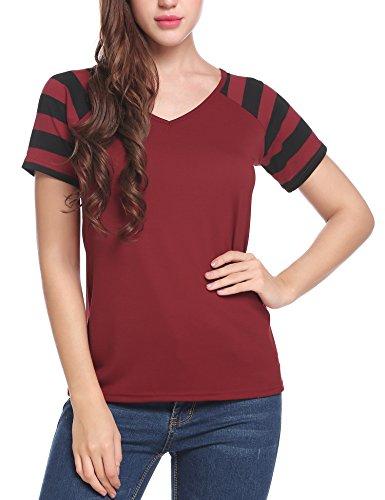 cooshional Damen Casual T-Shirt Kurzarm Sommer Gestreift V-Ausschnitt Oberteile Elastisch Tops Weinrot
