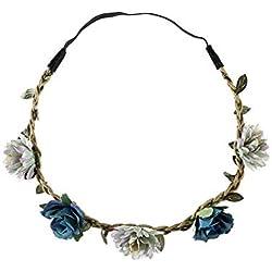 YAZILIND multicolor Margarita flor diadema corona con la flor elástica ajustable pelo niña niños azul