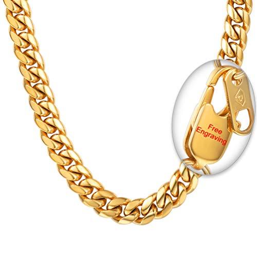 PROSTEEL Herren personalisierte Halskette Edelstahl 10MM Breite Massive Panzerkette Name Texte Gravur schwer Glieder Link Hip-Hop Kette für Männer Jungen, 51CM lang, Gold