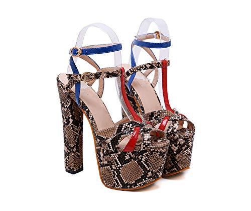 Sandali Tacchi Alti PU Snake Pattern Ladies Thick con Piattaforma Impermeabile Fashion 17Cm Snake Print, 36