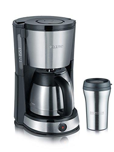Severin KA 9475 - Cafetera con vaso termo de acero inoxidable, 1000 W, función aroma, indicador de nivel de agua, acero inoxidable