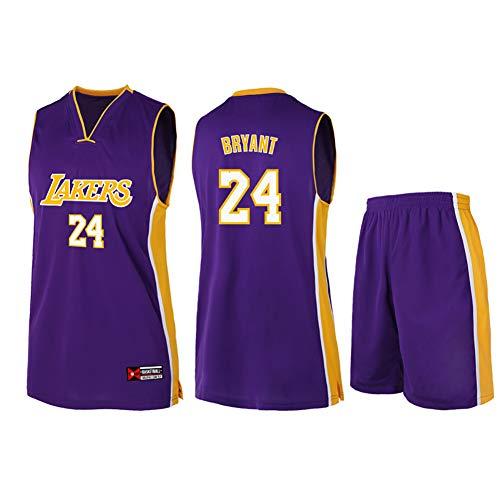 # 24 Kobe Bryant Los Angeles Lakers Unisex Ärmelloses T-Shirt-Herren Basketball Jersey Trainingsanzug Kinder Sweatshirt Stickerei Trainingsanzug Set S-5XL-purple-L