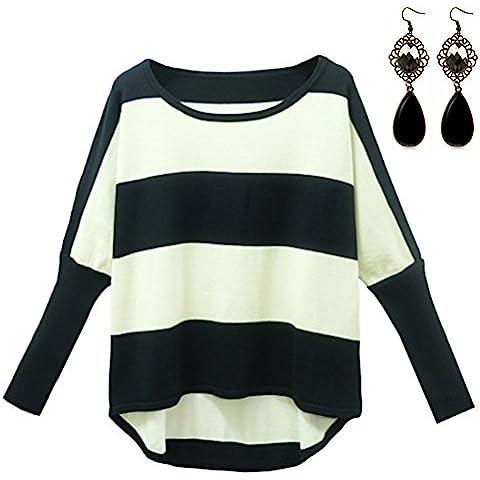 Sitengle Jersey de Lana Manga Del Batwing Rayas Camisa Blusa Suéter Para Otoño Invierno Caliente Casual Cardigan Outwear Pullover Tops Para