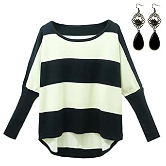 M-Queen Femmes Col V Pull Outwear Tops Épais Tricoté Lâche T-shirt Sweat-Shirt Pullover Sexy Rayé Creusent Manches Longues Chemisier