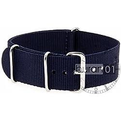 VK von Bura n01. com Military Nylon Watch Strap Dark Blue (Dark Blue) 24mm Watch Strap Black