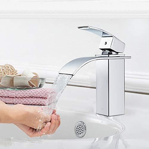 Auralum – Moderne Wasserfallarmatur für Waschbecken, Chrom - 4
