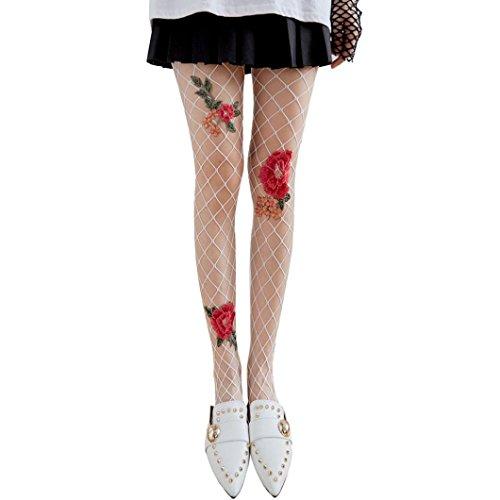 Mädchen Socken Rosennie Frauen Sexy Transparent Strumpfhosen Netzstrümpfe Mesh Spitze Blume Perlen Fischnetze Gitter Damen Reizvolle Schmetterling Ultradünne Damen Seide Strümpfe (Weiß (Rot Blume)) (Weiße Nylon-netzstrümpfe)