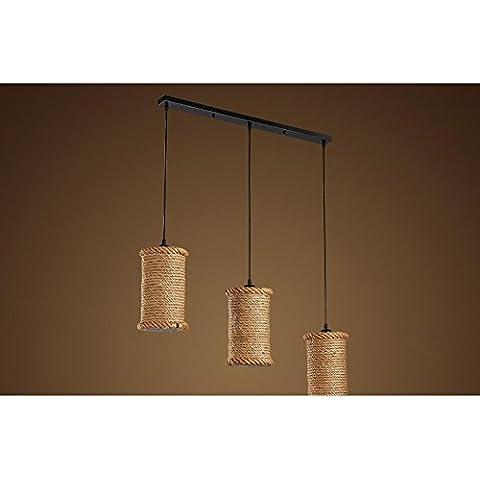 BJVB Retro cáñamo cuerda araña Restaurante Bar creativo café sombra (3 lámparas) cáñamo colgante techo luz