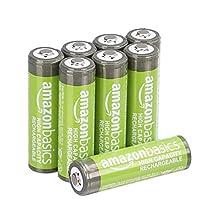AmazonBasics voorgeladen NiMH AA-batterijen - oplaadbare batterijen, 500 cycli (standaard 2500 mAh, minimaal 2400 mAh), 8 stuks (buitenkant kan afwijken van de afbeelding)