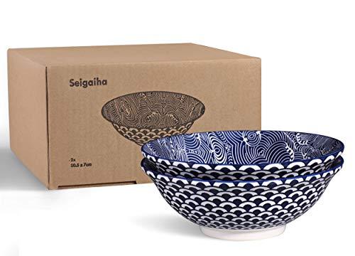Urban Lifestyle 2x Ramen tazón de Porcelana 20cm con Azul/Blanco japonés nichos seigaiha de Costura