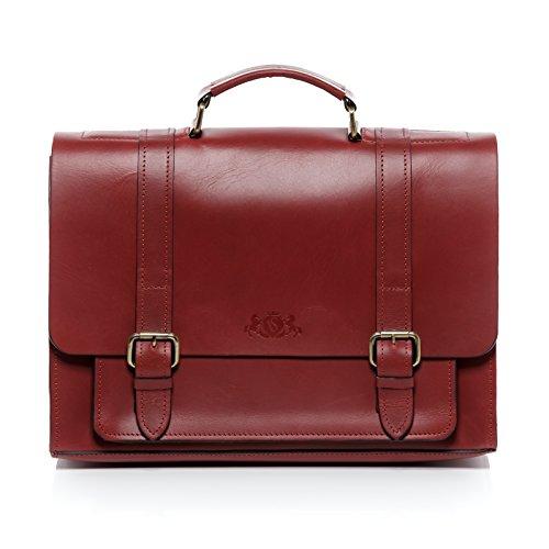 SID & VAIN Aktentasche echt Leder Bristol groß Businesstasche 15 Zoll Laptop Bürotasche Laptoptasche Herren rot -