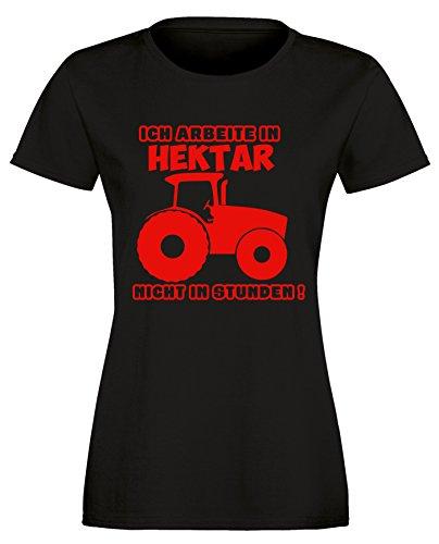 Ich arbeite in Hektar und nicht in Stunden - Damen Rundhals T-Shirt Schwarz/Rot