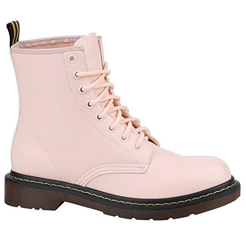 Damen Stiefeletten Worker Boots Lack Profilsohle Boots Schuhe 150330 Rosa Brito 40 Flandell