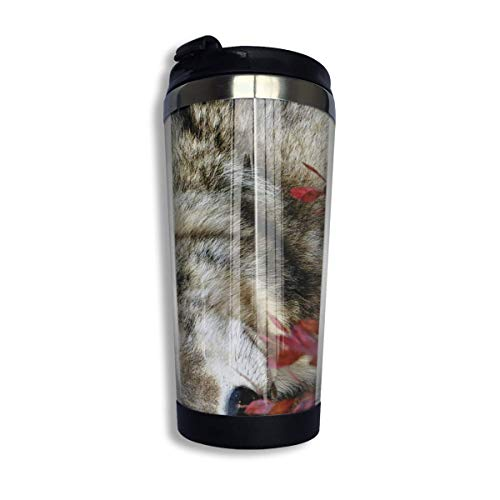 df35f95bedbf QIUJUAN Stainless Steel Coffee Mugs Wolf Red Leaf Travel Coffee Thermal Mug  10 Oz (400ml) Insulated Cup Perfect for Travel, Camping, Hiking, The Beach  ...