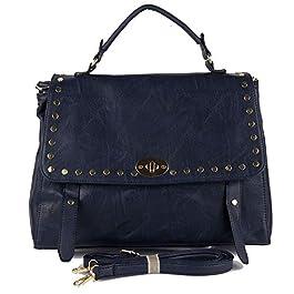 Borsa borchie donna a mano borchiata da lavoro passeggio capiente color blu nera cuoio tipo bag con tracolla giorno e sera in Ecopelle