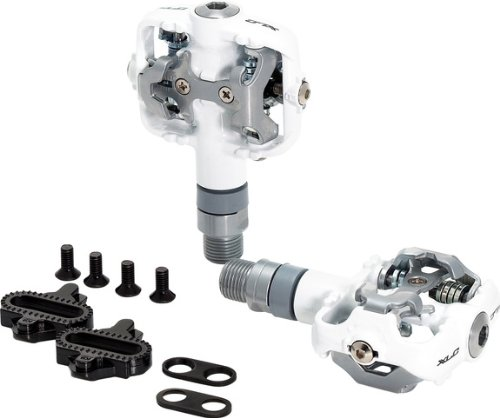 xlc-double-sided-spd-compatible-mtb-pedals-white-with-cleats