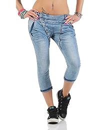 11133 Fashion4Young MOZZAAR Damen Jeans Röhrenjeans 7/8 Haremshose Baggy Übergrössen