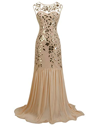 FAIRY COUPLE 1920s Floor Length Sequined V-Neck Flapper Party Maxi Dress Long Prom Cocktail(M,Champagne Gold)