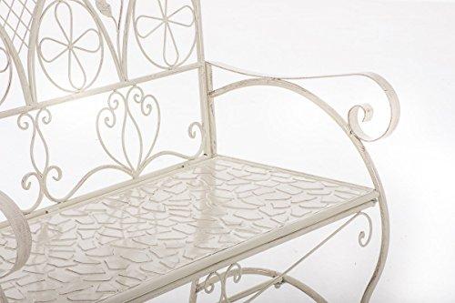 CLP Metall-Gartenbank RIEF, Landhausstil, lackiertes Eisen, ca. 110 x 50 cm, Design nostalgisch antik Antik Creme - 5