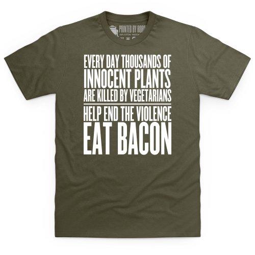 Eat Bacon T-Shirt, Herren Olivgrn