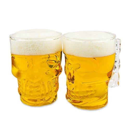 Set di 2Skull birra Vetro (500ml), Boccale per ogni occasione, perfetto come regalo di compleanno Halloween e giornata della birra, colore: trasparente