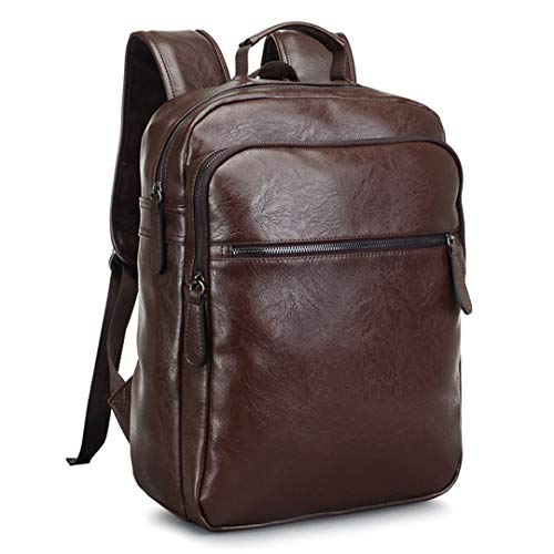 Männer Leder Jugend Reise Rucksack Schule Buch Tasche Laptop Business Bagpack Schultertasche Brown